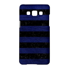 Stripes2 Black Marble & Blue Leather Samsung Galaxy A5 Hardshell Case  by trendistuff