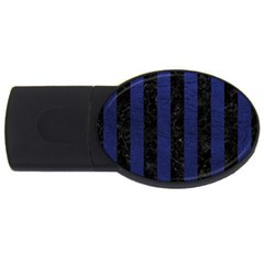 Stripes1 Black Marble & Blue Leather Usb Flash Drive Oval (4 Gb) by trendistuff