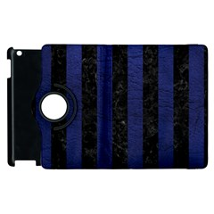 Stripes1 Black Marble & Blue Leather Apple Ipad 3/4 Flip 360 Case by trendistuff