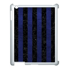 Stripes1 Black Marble & Blue Leather Apple Ipad 3/4 Case (white) by trendistuff