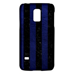 Stripes1 Black Marble & Blue Leather Samsung Galaxy S5 Mini Hardshell Case  by trendistuff