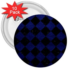 Square2 Black Marble & Blue Leather 3  Button (10 Pack) by trendistuff
