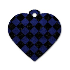 Square2 Black Marble & Blue Leather Dog Tag Heart (two Sides) by trendistuff