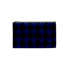 Square2 Black Marble & Blue Leather Cosmetic Bag (small) by trendistuff