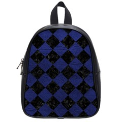 Square2 Black Marble & Blue Leather School Bag (small) by trendistuff
