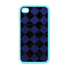 Square2 Black Marble & Blue Leather Apple Iphone 4 Case (color) by trendistuff