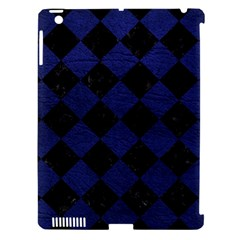 Square2 Black Marble & Blue Leather Apple Ipad 3/4 Hardshell Case (compatible With Smart Cover) by trendistuff