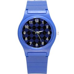 Square2 Black Marble & Blue Leather Round Plastic Sport Watch (s) by trendistuff