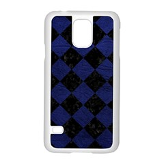 Square2 Black Marble & Blue Leather Samsung Galaxy S5 Case (white) by trendistuff