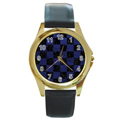 Square1 Black Marble & Blue Leather Round Gold Metal Watch by trendistuff