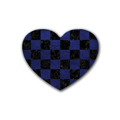 Square1 Black Marble & Blue Leather Rubber Coaster (heart) by trendistuff