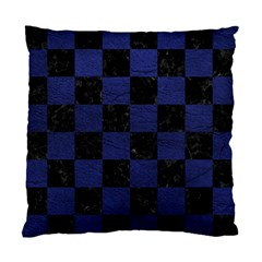Square1 Black Marble & Blue Leather Standard Cushion Case (two Sides) by trendistuff