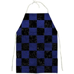 Square1 Black Marble & Blue Leather Full Print Apron by trendistuff