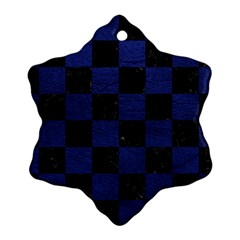 Square1 Black Marble & Blue Leather Ornament (snowflake) by trendistuff