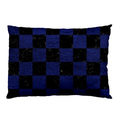 Square1 Black Marble & Blue Leather Pillow Case (two Sides) by trendistuff