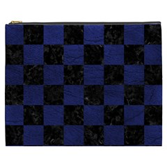 Square1 Black Marble & Blue Leather Cosmetic Bag (xxxl) by trendistuff
