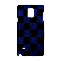 Square1 Black Marble & Blue Leather Samsung Galaxy Note 4 Hardshell Case by trendistuff