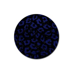 Skin5 Black Marble & Blue Leather (r) Rubber Round Coaster (4 Pack) by trendistuff
