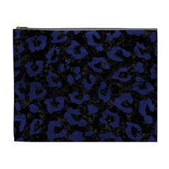 Skin5 Black Marble & Blue Leather (r) Cosmetic Bag (xl) by trendistuff