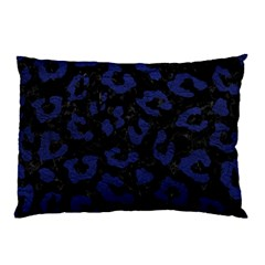 Skin5 Black Marble & Blue Leather (r) Pillow Case (two Sides) by trendistuff