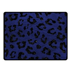 Skin5 Black Marble & Blue Leather Double Sided Fleece Blanket (small) by trendistuff