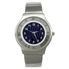 Skin4 Black Marble & Blue Leather (r) Stainless Steel Watch by trendistuff