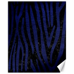 Skin4 Black Marble & Blue Leather (r) Canvas 11  X 14  by trendistuff