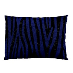 Skin4 Black Marble & Blue Leather (r) Pillow Case by trendistuff