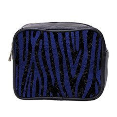 Skin4 Black Marble & Blue Leather (r) Mini Toiletries Bag (two Sides) by trendistuff