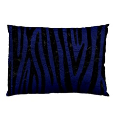 Skin4 Black Marble & Blue Leather Pillow Case (two Sides) by trendistuff