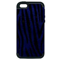 Skin4 Black Marble & Blue Leather Apple Iphone 5 Hardshell Case (pc+silicone) by trendistuff