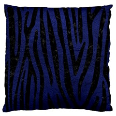 Skin4 Black Marble & Blue Leather Standard Flano Cushion Case (two Sides) by trendistuff