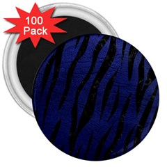 Skin3 Black Marble & Blue Leather (r) 3  Magnet (100 Pack) by trendistuff