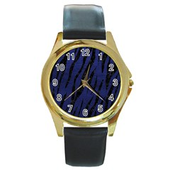 Skin3 Black Marble & Blue Leather (r) Round Gold Metal Watch by trendistuff
