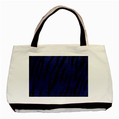 Skin3 Black Marble & Blue Leather (r) Basic Tote Bag by trendistuff