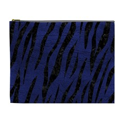 Skin3 Black Marble & Blue Leather (r) Cosmetic Bag (xl) by trendistuff