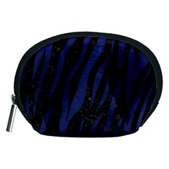 Skin3 Black Marble & Blue Leather Accessory Pouch (medium) by trendistuff