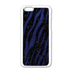 Skin3 Black Marble & Blue Leather Apple Iphone 6/6s White Enamel Case by trendistuff