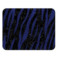 Skin3 Black Marble & Blue Leather Double Sided Flano Blanket (large) by trendistuff