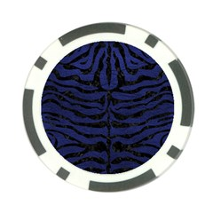 Skin2 Black Marble & Blue Leather (r) Poker Chip Card Guard by trendistuff