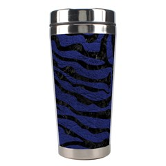 Skin2 Black Marble & Blue Leather (r) Stainless Steel Travel Tumbler by trendistuff