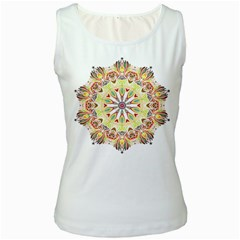 Intricate Flower Star Women s White Tank Top by Alisyart