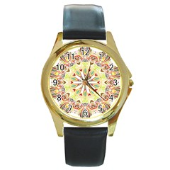 Intricate Flower Star Round Gold Metal Watch by Alisyart