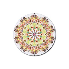 Intricate Flower Star Rubber Round Coaster (4 Pack)  by Alisyart