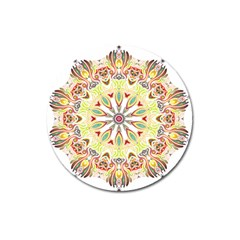 Intricate Flower Star Magnet 3  (round) by Alisyart