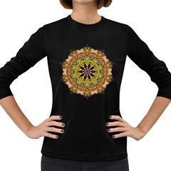 Intricate Flower Star Women s Long Sleeve Dark T Shirts by Alisyart