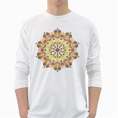 Intricate Flower Star White Long Sleeve T-shirts by Alisyart