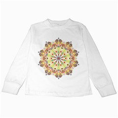 Intricate Flower Star Kids Long Sleeve T-shirts by Alisyart