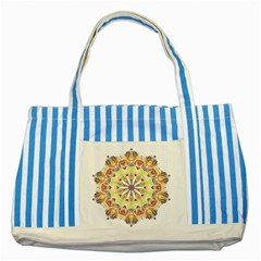 Intricate Flower Star Striped Blue Tote Bag by Alisyart