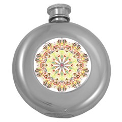 Intricate Flower Star Round Hip Flask (5 Oz) by Alisyart